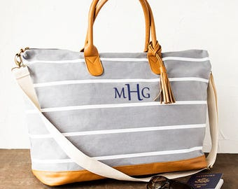 Personalized Gray Striped Canvas Weekender Tote (CC2324GY)