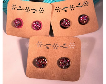 12mm Rockstar Pink Confetti Glitter Cabochon Stud Earrings