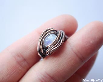 Moonstone Ring CUSTOM, Wire wrapped Moonstone wire ring, Heady ring, Raw crystal ring Gift for wife ring Moonstone jewelry Unusual ring