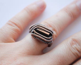 Black Tourmaline CUSTOM ring, Wire Wrappped ring, Black gemstone ring Black Jewelry Oxidized copper ring Tourmaline Jewelry Tribal ring