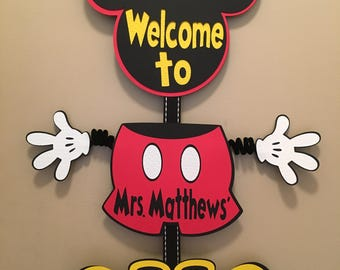 Mickey Mouse Classroom Sign Door Decoration Teacher Decoration Mickey Classroom