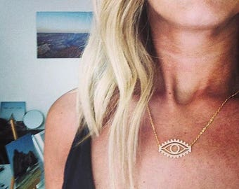 Evil eye minimalist boho necklace