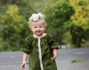 Girls Christmas Dress, Girls Winter Dress, Girls Olive Dress, Baby Dress, Toddler Dress, Baby Girls Dress, Olive Green Dress, Lace Dress