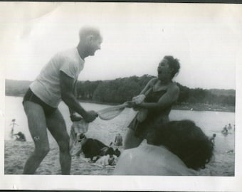 Towel Tug of War Silly Vintage Black and White Photo, Found Photography, Vernacular Snapshot