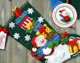 "Bucilla Snowman With Presents ~ 18"" Felt Christmas Stocking Kit #86864, Frosty DIY"