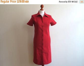 ON SALE Red Stretchy Shirtdress Buttons Up Dress Short Sleeves Knee Length Fitted Dress Medium Size