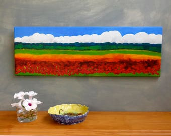 Red poppies wall art Poppies home decor Landscape painting Field of poppies Acrylic landscape Poppies wall art