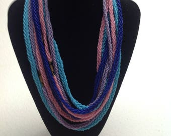 Vtg 1960's Murano Four Colored Necklaces Art Deco Style Long Woven Seed Bead  Rope Necklaces