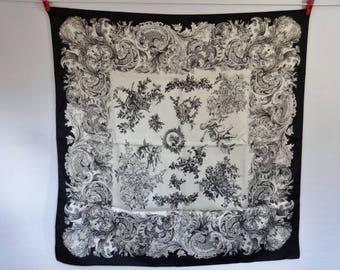 "Vintage Scarf Cherub Black white Baroque Versailles Style 30.3"" x 29.9"""