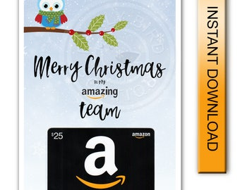 Printable Merry Christmas Amazon Gift Card Holder - Amazing Team - Digital Instant Download
