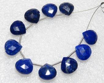Lapis Lazuli - Faceted - 5 Matching Pairs - Heart Shape - size 10x10 mm