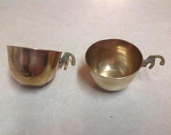 Vintage brass punch cups Korea 1969 set 2 cups, punch cups, brass cups, Korea bras she punch cups, partyware, barware, drinkware,