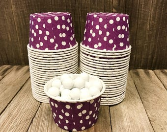 Purple and White Paper Snack Cups - Set of 48 - Dot Candy Cup - Birthday Party - Mini Ice Cream Cups - Paper Nut Cup - Same Day Shipping