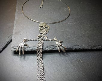 Gothic Skeleton Choker, Silver Skeleton Necklace, Silver Skull Necklace, Skull Necklace, Skull Jewelry, Gothic Jewelry, Alternative Gifts