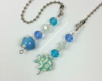 Ceiling Fan and Light Pull Chains with Tropical Fish Theme. Glass and Ceramic Beaded Handmade Pull Chains. Blue and Aqua Coastal Home Decor.