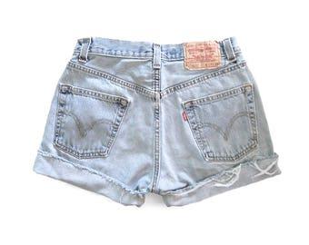 Vintage Levi's 505 Denim Cutoffs - 90s Light Wash Jean Shorts - Red Tab - Distressed Worn In - Women's Medium - Waist 28