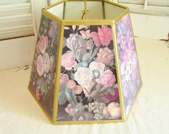 Vintage Flowers Six Sided Paper Lamp Shade Gold Trim Various Colorful Flower Designs on Black Cottage Chic Paris Apartment