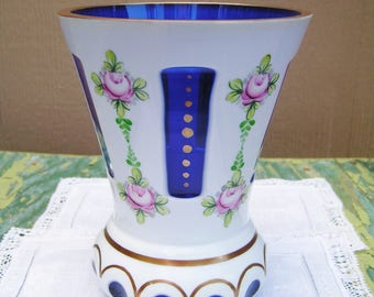 Vintage Bohemian Czech Glass Cut to Cobalt Blue Vase with Hand Painted Pink Roses Cottage Chic Vase