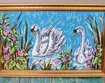 Large Vintage Framed Swans in Pond with Flowers Needlepoint Cross Stitch Art Gold Wood Frame Beautiful Colors and Design Cottage Chic