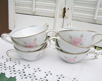 8 Vintage Mid Century Noritake Japan Pink Roses Teacups Roseville Pattern Cottage Chic Teacups Tea Party Wedding Bridal Shower Baby Shower