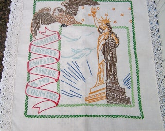 "Vintage Unframed Patriotic Embroidered Embroidery Sampler with Lace Edges Statue of Liberty Eagle Patriotic Motto 21"" x 18"""