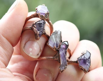 Amethyst Ring Electroformed Copper Ring Stone Ring Natural Stone Delicate Ring Februrary Birthstone