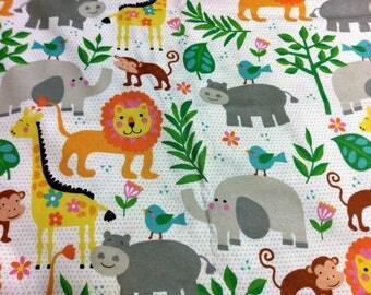 Safari Animal Flannel Fabric | Lion Elephant monkey Giraffe Hippo | Zoo Animals | White Gray Orange green |  fabric by the yard