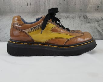 Vintage 90's Dr. Martens Two Tone Brown & Yellow Patent Leather Derby Oxford Creepers Grunge Ankle Boots UK 5 Women's US 7 Made in England