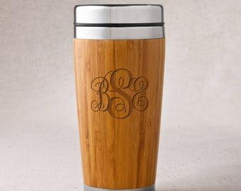Personalized Bamboo Coffee Mug - Personalized Travel Mug - Hot Cold Tumbler - Gifts for Mom - Gifts for Her - RO103