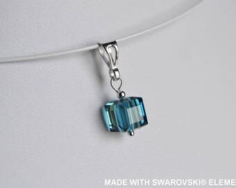 SWAROVSKI Crystal cube turquoise pendant / 925 sterling silver