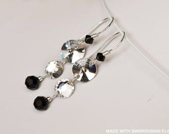 SWAROVSKI Crystal Black and white Trio earrings / 925 sterling silver