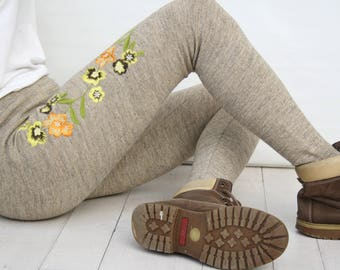 Milky Brown Embroided Leggings / Cappuccino Colorful Flower Embroided Leggings Pants