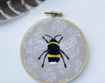 Hand Embroidery. Bee. Bumblebee. Embroidery Art. Wall Art. Hoop Art. Home Decor. Handmade. Embroidery Hoop. Floral.