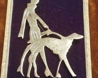 Art Deco STERLING FLAPPER Walking DOG Brooch Vintage Greyhound Silver Jewelry 20s Vogue Pin Silverware Wedding Anniversary Bridal Gift Bride