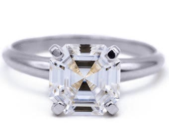 Asscher Moissanite Platinum 4 Prongs FANCY Solitaire Ring