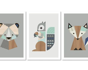 Fox,Bear and Squirrel Nursery Prints, Series of three. Nursery art, Nursery prints, nursery decor, Woodland Nursery, kidsroom art, Kids art.
