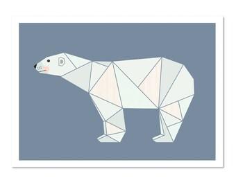 Polar Bear Kids Art Print, nursery art,boysroom art, bear print, nursery print,scandinavian art,scandi kids art,nursery decor,kids wall art.
