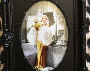 Jean Harlow boudoir colour print in a black oval frame 6x4""
