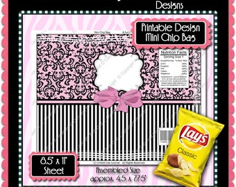 Printable Formal Damask Mini Chip Bag  -  Instant Download (PFD102) Digital Party Graphics - PERSONAL USE Only