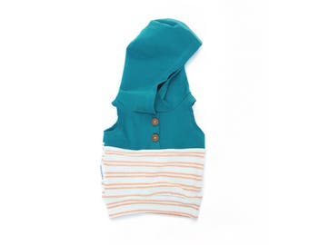 Orange Creamsicle Stripe Color Block + Buttons Tank // Beach Hoodie // NB - 3T