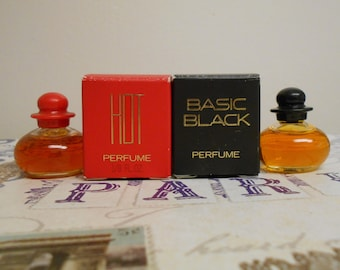 Bill Blass Basic Black and Hot perfume miniature bottles, 1/8 fl oz, with boxes.