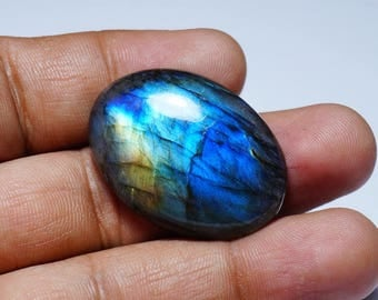 Gemstone,Cabochon,Oval Labradorite Blue Flash Labradorite 38x28x8 mm 12 Gram
