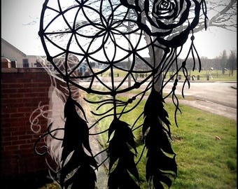 Dreamcatcher Paper Cutting Template for Personal or Commercial Use with Feathers and Roses Native American Cut Papercut Spirit Guide