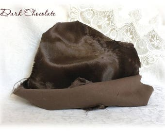 Italian VISCOSE Fabric Fur Dark Chocolate Colour 6-7 mm pile 1/8 metre or more teddy bear making supplies plush