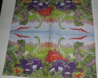 RARE 1 paper towel / Napkins dinosaur / triceratops 25 x 25