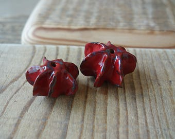 Two large red ceramic beads handmade
