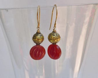 Vintage Brass and Carnelian Earrings