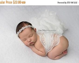 SALE Isadora, Rhinestone and Pearl Headband, Tie Back, Baby Headband, Baby Halo,  Baby Crown, Newborn Photo Prop, Newborn Photo Prop