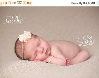 SALE Petite Elegance Collection Grace in Peach on a Burlap Tie Back Headband or clip Beautiful Newborn Photo Prop Baby Headband Newborn Tie