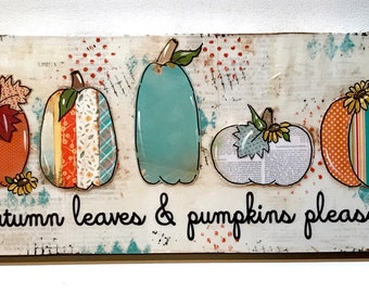 Fall Decor, Fall Decoration, Pumpkins in a Row, Painted Pumpkins, Aqua Pumpkins, white Pumpkins, Autumn Decor
